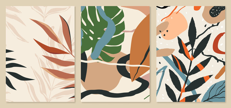 Abstract tropical leaves background templates. Botanical illustrations. Trendy mid century art, boho home decor, abstract floral wall art.