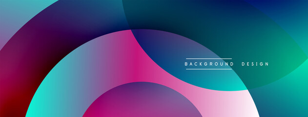 Obraz Abstract overlapping lines and circles geometric background with gradient colors - fototapety do salonu