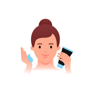 Skincare - moisturizing, cleansing. Woman holding cream tube. Flat style