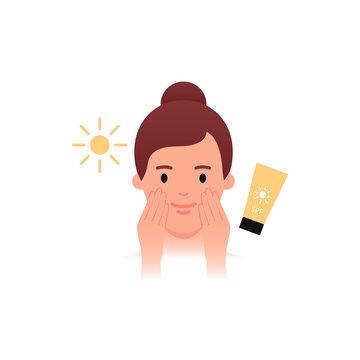 Skincare - SPF sun protection. Women applying sunscreen. Flat style