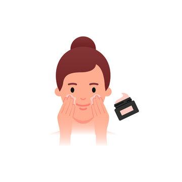 Skin Care - moisturizing, anti-age cream. Woman applying facial cream. Flat style