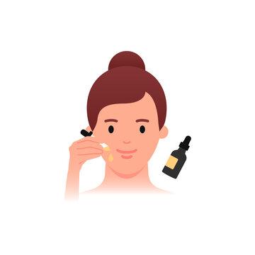 Skincare - Woman applying serum. Flat style