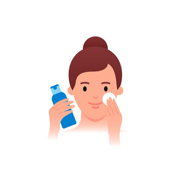 Skincare - Woman applying cleanser. Flat style