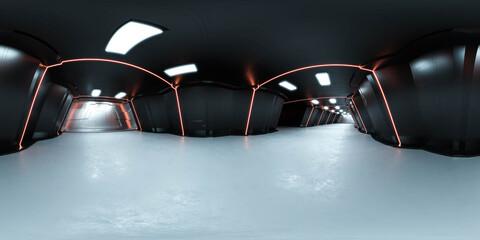 Obraz High resolution hdr hdri panoramic view of futuristic spaceship interior 3d render illustration - fototapety do salonu
