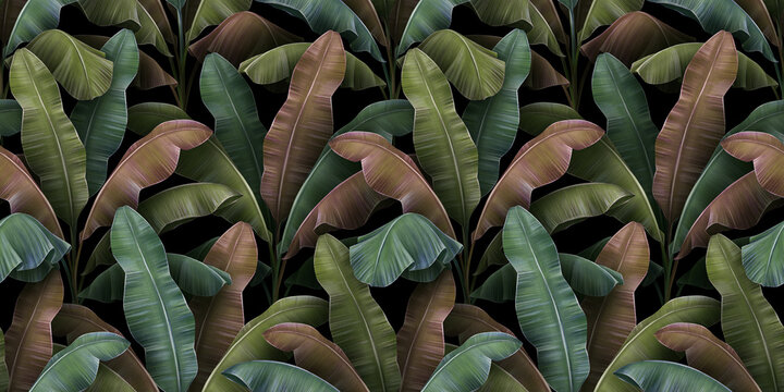 Banana trees plantation, colorful textured leaves. Vintage tropical 3d illustration, seamless pattern. Premium grunge background design. Luxury wallpapers, cloths, fabric prinring, posters, mural