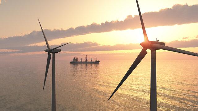 Windkraftanlagen im offenen Meer bei Sonnenuntergang