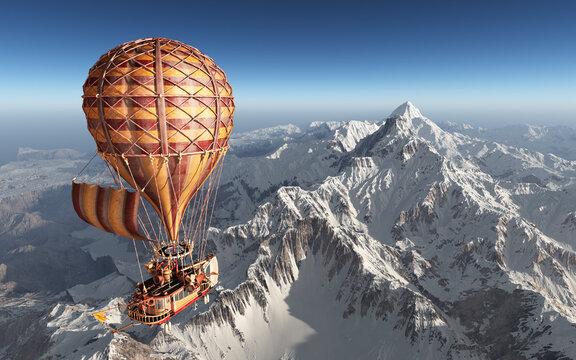 Fantasie Heißluftballon über schneebedeckten Bergen