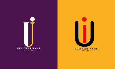 Obraz UJ, WI, UI, Abstract initial monogram letter alphabet logo design - fototapety do salonu