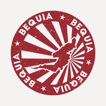 Bequia stamp. Travel red rubber stamp with the map of island, vector illustration. Can be used as insignia, logotype, label, sticker or badge of the Bequia.