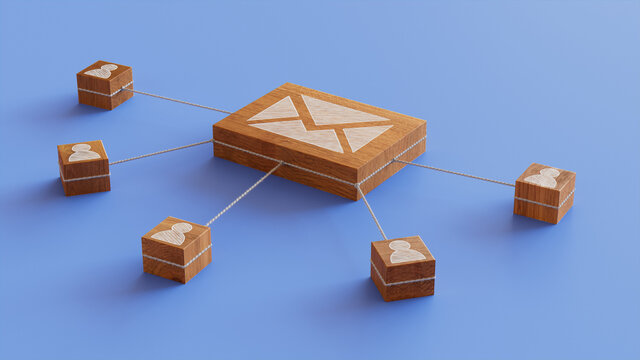 Email Technology Concept with Envelope Symbol on a Wooden Block. User Network Connections are Represented with White string. Blue background. 3D Render.