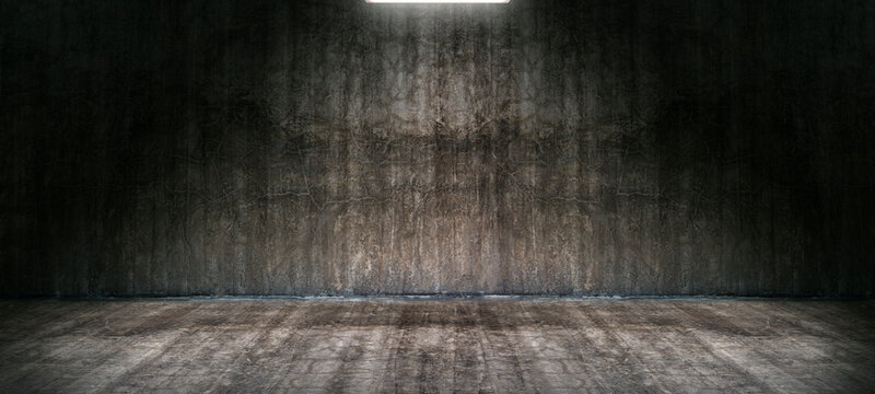 Dark empty room with old damaged concrete wall and ceiling lamp shining,interior texture for display products.
