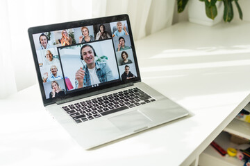 pc screen view girls and guys chatting by video call enjoy distant communication. E-dating services modern tech for fun or work concept - fototapety na wymiar