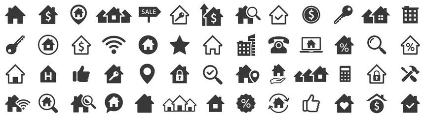 Obraz Real estate icons set. Home icon. House icons. Vector illustration - fototapety do salonu