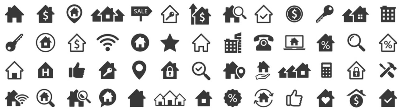 Real estate icons set. Home icon. House icons. Vector illustration