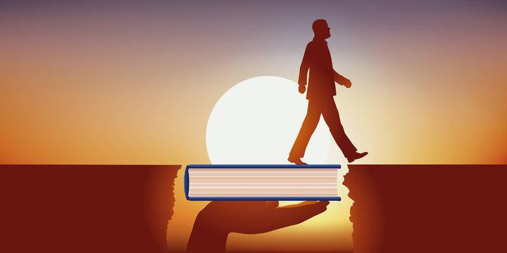 Importance de la culture et de l'éducation dans la réussite professionnelle, avec un homme qui franchit un obstacle grâce à un livre qui lui sert de pont.
