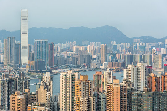 Skyline and skyscrapers of the city of Hong Kong in scenic evening light