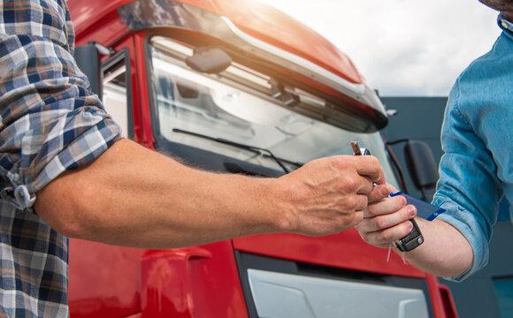 Truck Drivers Shift Work Vehicle Keys Transfer