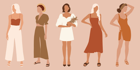 vector illustration - abstract boho women on summer vacation