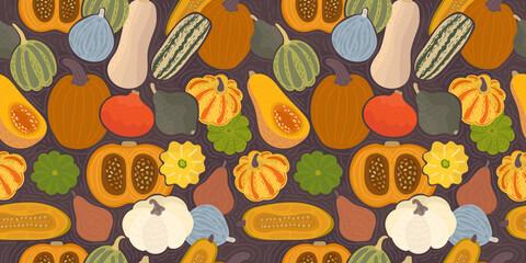 Obraz colorful pumpkins pattern - fototapety do salonu