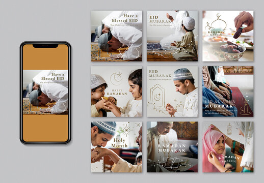 Ramadan and Eid Greetings Social Media Post Set