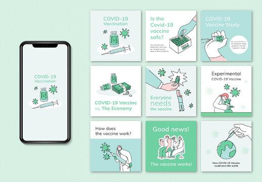Covid 19 Social Media Post Doodle Set