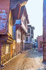 The old narrow street at Hisar Castle in Ankara, Turkey