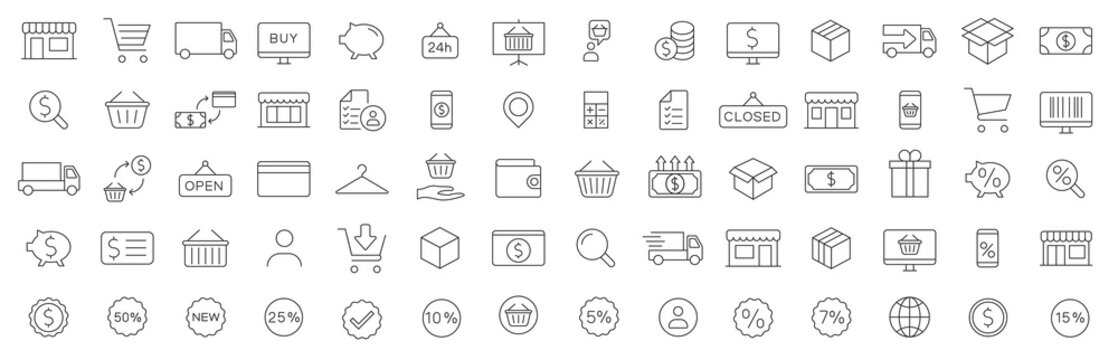 Shopping icon. E-commerce icons set. Online shopping. Shopping cart, surprise gift and Delivery symbols. Speech bubble, Discount tag coupon , Credit card. Online sale. Vector illustratin.