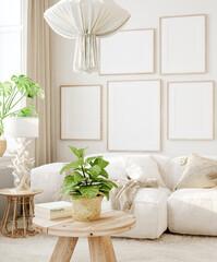 Fototapeta Mockup in interior background, room in light pastel colors, Scandi-Boho style, 3d render obraz