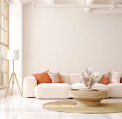 Mockup in interior background, room in light pastel colors, Scandi-Boho style, 3d render