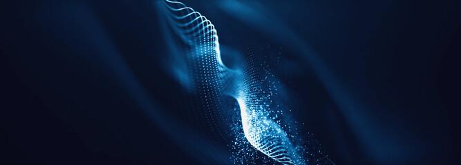 Obraz Blue particles wave background. Abstract dynamic mesh. Big data technology. - fototapety do salonu