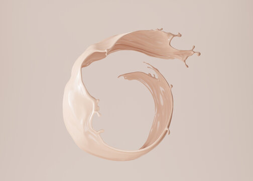 3D beige display with liquid round foundation splash swirl on studio background. Nude makeup cream fluid flow podium showcase for beauty product, cosmetics promotion. Minimal Abstract 3D render mockup
