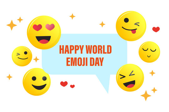 HAPPY WORLD EMOJI DAY.  17 july. Banner. Emotions. Message icon. Vector graphics