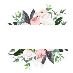 Obraz Dusty pink garden rose, peony, magnolia, ranunculus flower, tropical leaves vector design wedding banner - fototapety do salonu