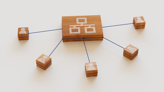 Network Technology Concept with ethernet Symbol on a Wooden Block. User Network Connections are Represented with Blue string. White background. 3D Render.