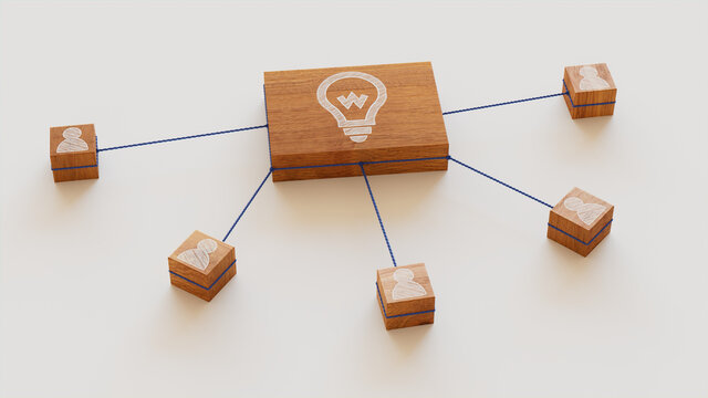 Innovation Technology Concept with lightbulb Symbol on a Wooden Block. User Network Connections are Represented with Blue string. White background. 3D Render.