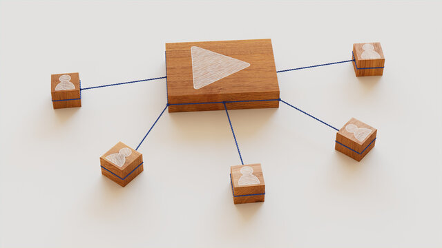 Media Technology Concept with play Symbol on a Wooden Block. User Network Connections are Represented with Blue string. White background. 3D Render.