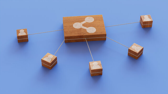 Network Technology Concept with share Symbol on a Wooden Block. User Network Connections are Represented with White string. Blue background. 3D Render.