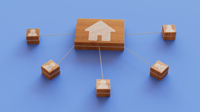 Internet Technology Concept with home Symbol on a Wooden Block. User Network Connections are Represented with White string. Blue background. 3D Render.