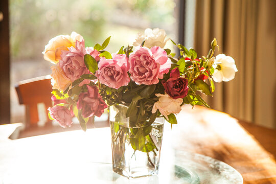 Vase of roses fresh from the garden on the table