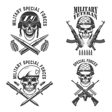 Military veteran. Special forces. Crossed assault rifles with soldier skull in army helmet. Design element for logo, label, sign, emblem. Vector illustration