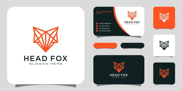head fox logo vector line style design with business card