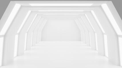 Obraz Futuristic mock up scene, abstract white futuristic sci-fi interior design, 3D rendering - fototapety do salonu