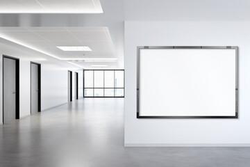 Obraz Black horizonal frame Mockup hanging on wall. Mock up of a billboard in modern concrete office interior 3D rendering - fototapety do salonu