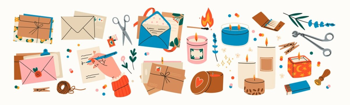 Various Envelopes with mail, postmarks, Postcards. Sealing wax, handmade cards. Decorative wax candles for relax and spa. Matches, candle snuffer. Hand drawn big Vector set. All elements are isolated