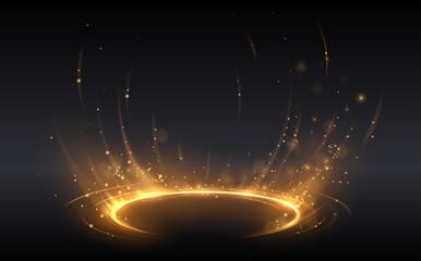 Fototapeta Abstract golden light circle effect obraz