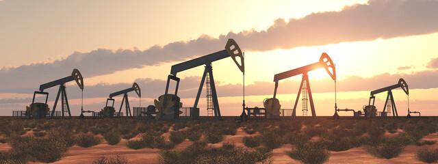 Obraz Ölpumpen bei Sonnenuntergang - fototapety do salonu