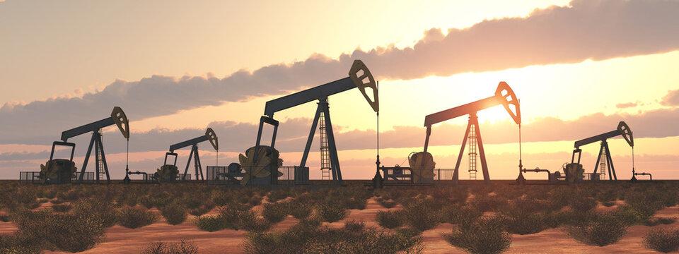 Ölpumpen bei Sonnenuntergang