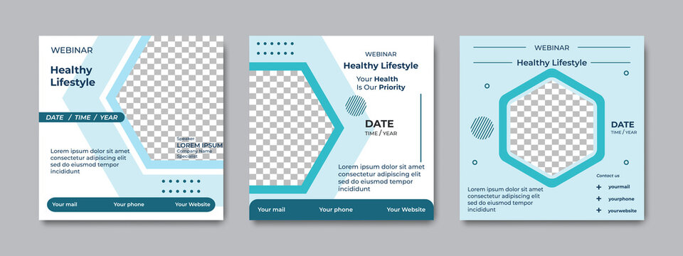 Set of modern social media post templates, with soft color. Suitable for health webinars, health poster, business webinar, online classes and other online seminars.