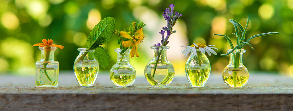 Essential oils and herbal extracts in small bottles. Selective focus.