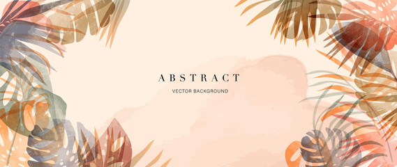 summer tropical background vector. Palm leaves, monstera leaf, Botanical background design for wall framed prints, wall art, invitation, canvas prints, poster, home decor, cover, wallpaper.
